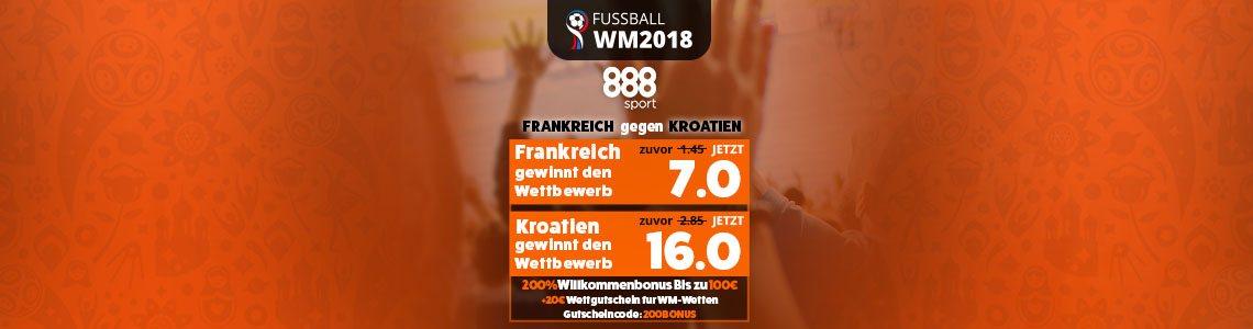Top-Quoten bei 888sport für Kroatien gegen Frankreich