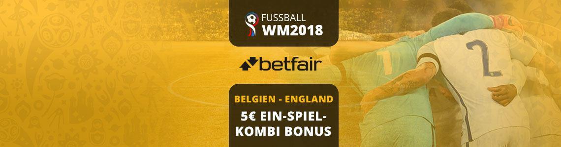 Kombi-Bonus für Belgien - England bei Betfair